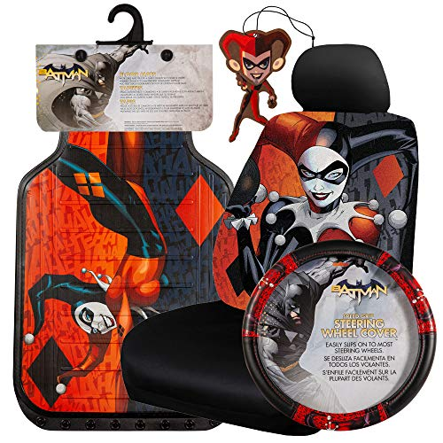 Plasticolor 8 Piece DC Comics Harley Quinn Floor Mats, Seat Covers, Steering Wheel Cover and Air Freshener Set for Car, Truck and SUV