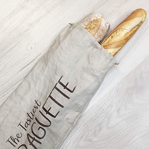 Sac à baguette en lin fait main - 65 x 20 cm - Cadeau artisanal - Rangement du pain fait main - Sac...