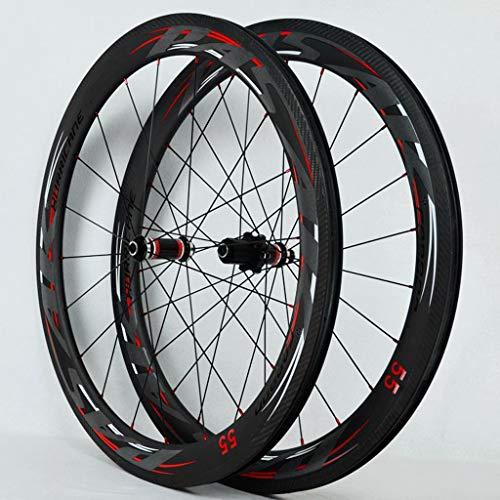 Open Version 700C Road Bike Wheel Set Straight-Pull Spokes 4 Bearing C-Brake V-Brake Aluminum Alloy Fat Rim Wheel Set Carbon Fiber Hub Drum Quick Release(A Pair of Wheels)