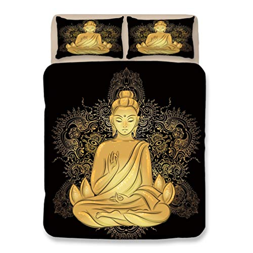 LPKK HK Duvet Quilt Cover with Pillowcases Easy Care and Super Soft Double Single Bedding Set 3 PCS Buddha Statue Fashion,B,UK-Superking