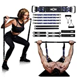 """INNSTAR Resistance Bands Bar Exercise Bands Attachment 38"""" Black Max Load 800lb for Home Gym Workout Full Body Workout Power Lifting Fitness Bar (Portable Gym 3.0- Camo Navy)"""