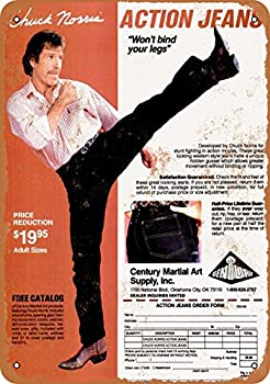 Wall-Color 9 x 12 Metal Sign - 1980 Chuck Norris Action Jeans - Vintage Look