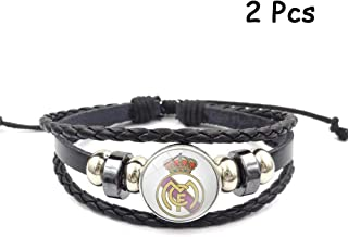 FANwenfeng Retro La Liga Soccer Club Badge Beaded Woven Leather Bracelet Football Sport Wristband Fans 2 Pcs