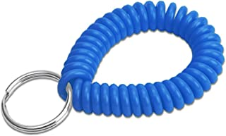 """Lucky Line 2"""" Spiral Wrist Coil with Steel Key Ring, Flexible Wrist Band Key Chain Bracelet, Stretches to 12"""", Blue"""