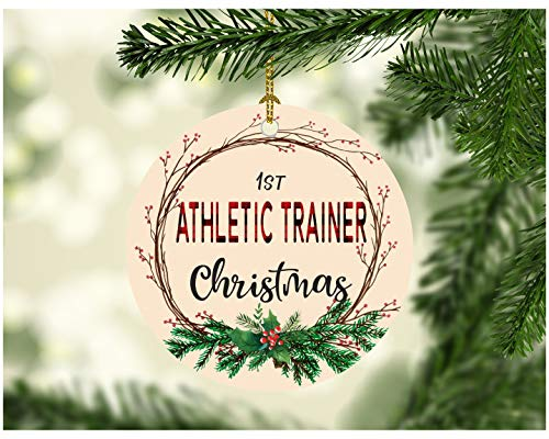 Christmas Tree Ornament 2019 First Christmas Athletic Trainer Decorations Tree Congrats On New Job Good Luck Present Ideas Family Decor for A Holiday Party Funny Xmas 3' Flat Ceramic White