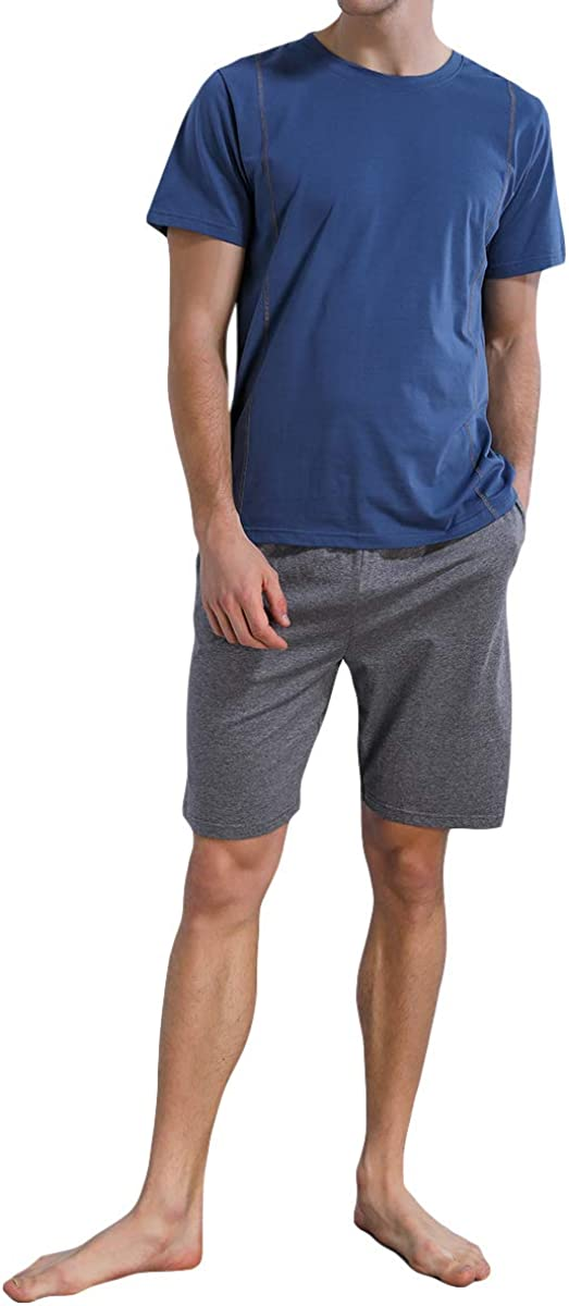 YFFUSHI Mens Short Sleeves and Shorts Pajama Set Summer Lightweight Cotton Sleepwear Loungewear