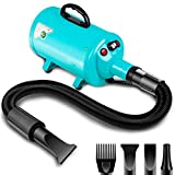 amzdeal Dog Dryer 2800W/3.8HP Stepless Adjustable Speed Pet Hair Grooming Blower, Home Use/Professional Pet Hair Force Blower Blaster with Heat System, Spring Hose, Blue