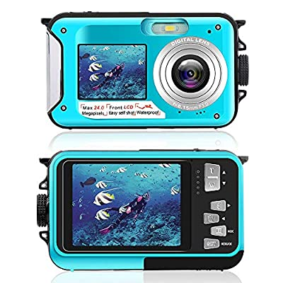 Underwater Camera Dual Screen 2.7K 24MP Waterproof Digital Camera HD Rechargeable Camera for Snorkeling, Camping, Underwater, Swiming from Uggkin