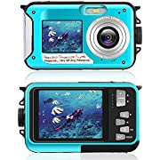 Underwater Camera for Snorkeling, Waterproof 2.7K 24MP Digital Camera, HD Rechargeable Camera with Dual Screen for Camping, Underwater, Swiming, Underwater Camera (Blue)