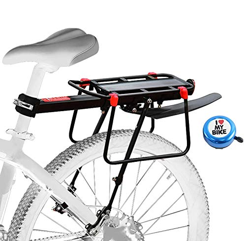 Aoweika Mountainbike Gepäckträger mit Kotflügel, 75 KG Kapazität Fahrrad Gepäckträger Fahrrad-Gepäckträger Schnellverschluss einstellbar Leichtmetall-Fahrradgepäckträger mit reflektierendem