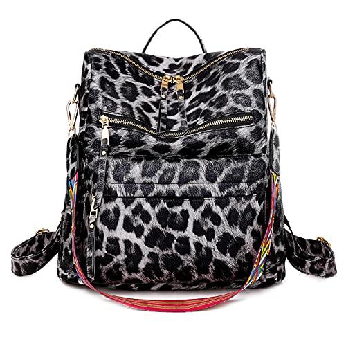 FEOYA Damen Rucksack Handtasche Multifunktions Weich PU Leder Rucksackhandtasche Frauen Leicht Rucksack Daypack Damen Elegant Design Schultasche Groß Modisch Lässiger Rucksack Leopard Grau