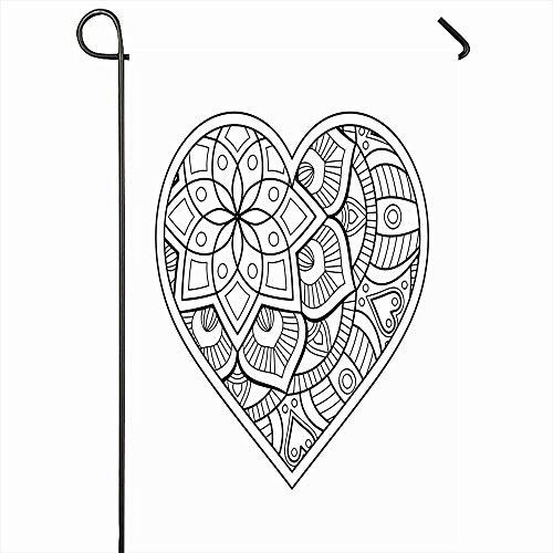 Outdoor Garten Flagge 30X45 CM Indische Mexikanische Ethnische Herz Floral Vintage Muster Osmanische Abstrakte Blume Frühling Meditation Wohnkultur Saisonale Doppelseiten Haus Hof Zeichen Banner