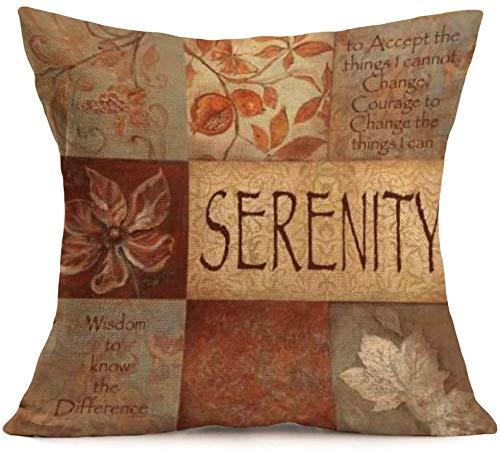 Citas positivas Vintage Impresión Hermosa Mood Serenity Lino Throw Pillow Cover Decoración para el hogar Bonito Regalo Funda de Almohada de Lino Interior Cuadrada Tamaño estándar:(18×18)