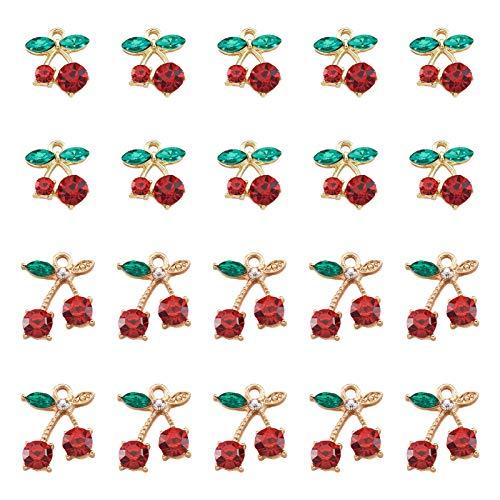 Beadthoven - 40 abalorios de cereza, diseño de hojas de cristal verde y rojo con piedras de cereza, colgantes de frutas dulces y lindas para niñas bonitas pulseras y pendientes