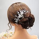 Edary Peineta para el pelo de novia con diseño de flores de cristal plateado para novia y novia, accesorios para el pelo para mujeres y niñas