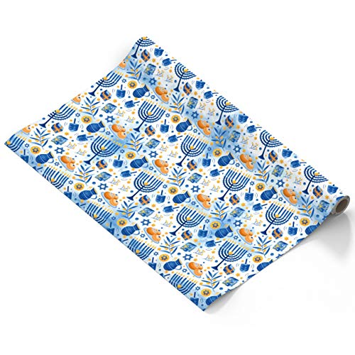 Hanukkah Wrapping Paper - Extra Wide Blue Gift Wrap - 30 Inch x 144 Inch- Hanukkah Gift Wrap - Light Print