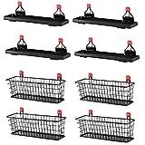 Rubbermaid Metal Backyard Shed Shelf & Wall Mounted Wire Basket (4 of Each)