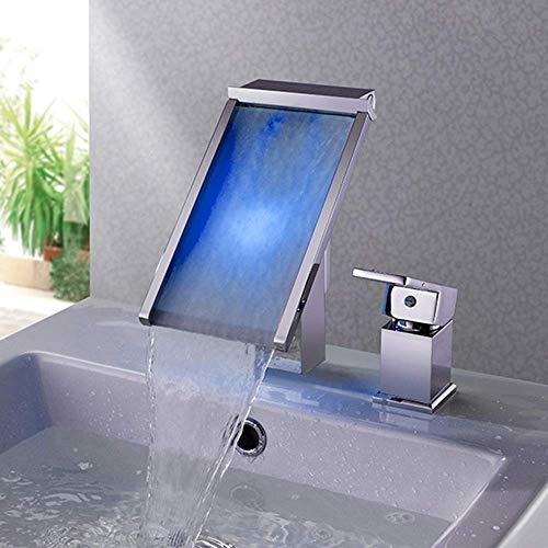 YHtech Llevada moderna de cobre funciona con agua del grifo de lavabo de baño de bañera de la cascada de agua del cambio del color Temperatura de color Control 2 agujero caliente y frío del grifo herm