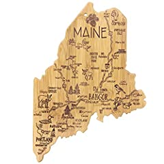 Celebrate life in The Pine Tree State with this beautiful bamboo cutting board in the shape of Maine with permanent, laser-engraved artwork Fun, whimsical laser-engraved artwork calls out all the wonderful sights and places in the state from Bangor t...