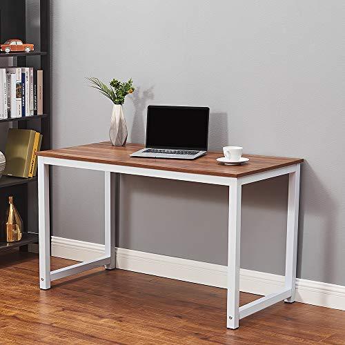 Ruication Mesa de estudio grande para ordenador portátil, estación de trabajo de madera, marco de estudio, diseño grande, para ordenador portátil, escritorio de juegos para oficina en casa (nogal)