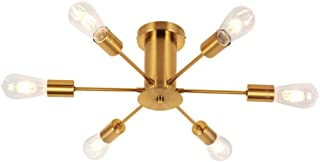 VINLUZ Metal Flush Mount Ceiling Lamp 6 Lights Sputnik Kitchen Light fixtures Brushed Brass Chandelier Lighting For Dining Room Living Room Hallway