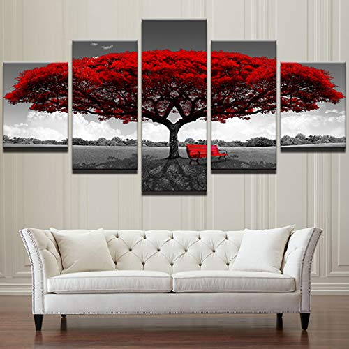 5 Panel Red Tree Wall Art $13.99 (80% OFF Coupon)
