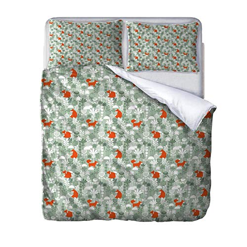 UWKDEK King Size Double Duvet Cover Set 3D Little Fox Bedding SetWith Zipper Closure Microfiber Bedding Quilt Cover,for Kids The elderly Teens AdultsWith 2 Pillowcases,240cmWx220cmH