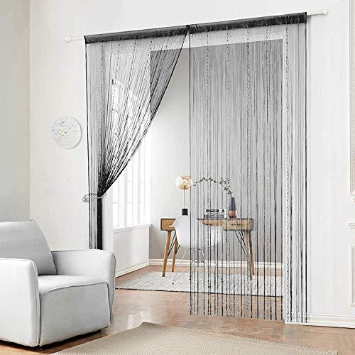Sxspace 2X Perlen-/Fransen-Vorhang, für Türen/Terrasse/Fenster, Verwendung als Fliegengitter/Trennwand schwarz, 90x200cm