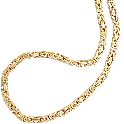 Feine Silberkette Byzantiner Königskette Halskette Kette Collier Armband Fußkette 925 Silber Sterling 18K Goldkette Gold Kette vergoldet 2mm - 15 20 25 30 35 40 45 50 55 60 65 70 75 80 85 90 95 100cm