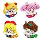 4 Uds Sailor Moon Micro Bloques De Construcción Pequeña Dama Janpanese Anime Diamante Ladrillo Mini ...