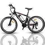 ANCHEER 26' VTT électrique Vélo de Montagne avec Lumières LED et Haut-parleurs et Sièges réglables 36V/8Ah Batterie au Lithium Amovible et Shimano Dérailleurs à 7 Vitesses Freins à Disque Adultes