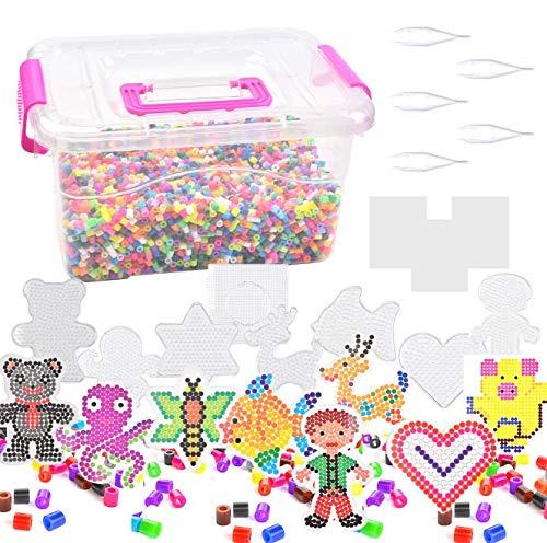 10000 Fuse Beads Kit, Multi-Color Bead Bucket, 8 Pcs Fuse Beads Iron Paper, 5 Pcs Bead Tweezer Tools Tweezers, 3 Pcs Ironing Paper, Bead Bucket Craft for Kids