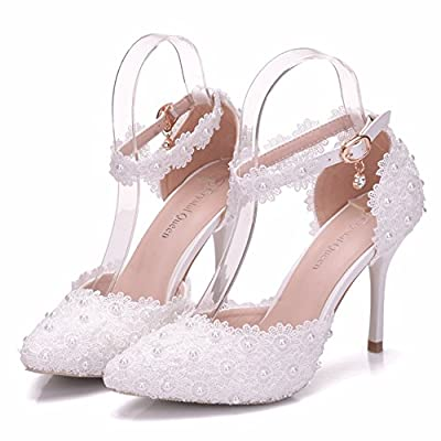 Crystal Queen Women High Heels Sandals White Lace Pearls Wedding Shoes Pointed Toe Thin Heels Pumps Women Shoes (41 M EU / 9 B(M) US, White)