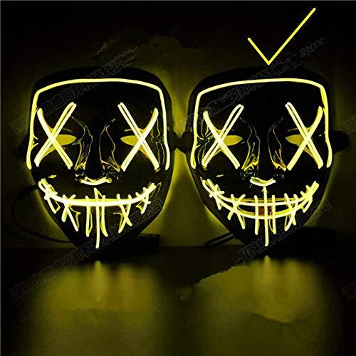 QLQGY Decoración de Halloween Máscara LED Light Up Party Máscara de neón Cosplay Horror V para Vendetta Accesorios de decoración de Fiesta de Halloween Accesorios, Estilo 2 Amarillo