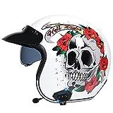 Casco Con Bluetooth De Cara Abierta 3/4 Para Motocicleta De Estilo Retro, Medio Casco Con Visera Desplegable, Casco Vintage De Cara Abierta Para Adultos Aprobado Por DOT/ECE,White skull,S