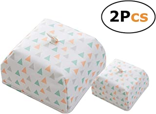 Portable Thermal Foldable Food Covers Keep Bugs&Dust Off, Internal Coating Keeps Food Warm(white triangle 2 pcs)