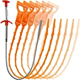 7Pack Drain Clog Remover Tool,20Inch Hair Drain Clog Tool(6PCS)+1 Stainless Steel Drain Auger Hair Catcher,Flexible Sink Drain Clog Remover Cleaner Sticks for Sink,Bathroom,Toilet,Tube Drain Cleaning