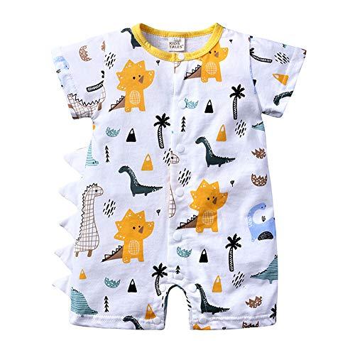ETbotu Kleidung für die frühe Kindheit Baby Cartoon Jumpsuit Einreiher Baumwolle Strampler Kleinkind Kostüm für Jungen und Mädchen HY2577W white 90