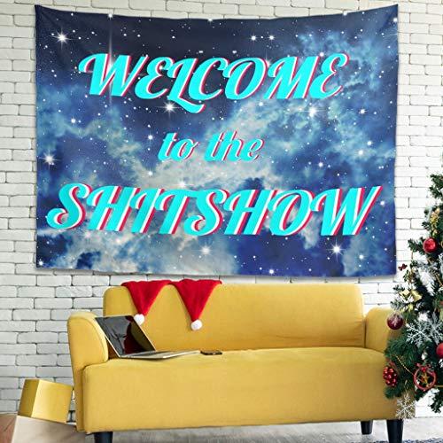 Knowikonwn Fashion Welcome to The Shitshow Tapiz – Universo para decoración de eventos, cortina de cama blanca 3 231 x 149 cm