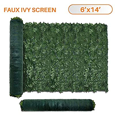 TANG Sunshades Depot 6' FT x 14' FT Artificial Faux Ivy Privacy Fence Screen Leaf Vine Decoration Panel with 130 GSM Mesh Back