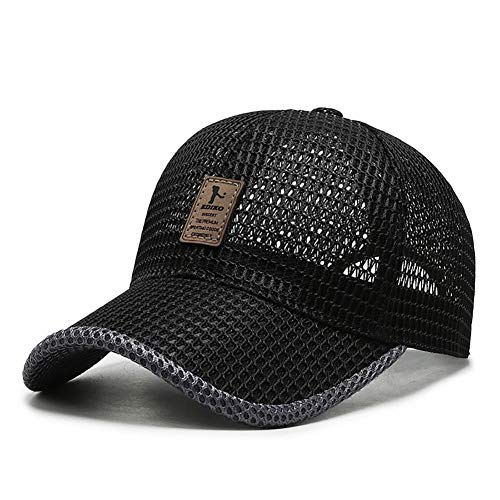 Adantico Gorras de béisbol para Unisex Hombre Sombreros de Verano Sombrero de Malla Transpirable (Negro)
