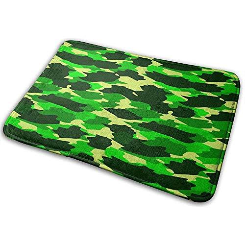 Alfombra de patrón Transparente de Camuflaje Amarillo Verde, Conveniente para la Alfombra de la Puerta de la Alfombra del baño, Estera del Piso