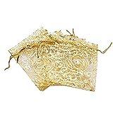 Anleolife 100pcs Gold Sheer Organza Wedding Favor Bags Jewelry Gift Bags Bathroom Soaps
