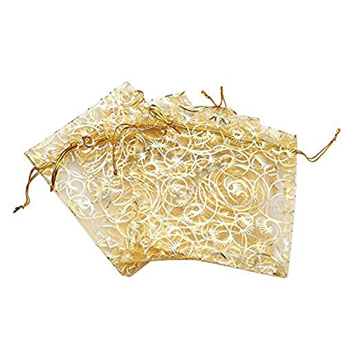 Anleolife 100pcs Gold Sheer Organza Wedding Favor Bags Jewelry Gift Bags Bathroom Soaps Nail Polish Potpourri Organzer Business Samples Display Drawstring Pouches Party Baby Shower Favors 4.7x3.5 inch(gold with print)