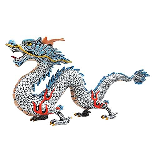 tianxiangjjeu Modelo De Dragón Chino, Adorno De Mano De Obra Fina, Estatua De Dragón De Feng Shui Chino Poderoso Vívido De Moda para Decoración del Hogar Plata