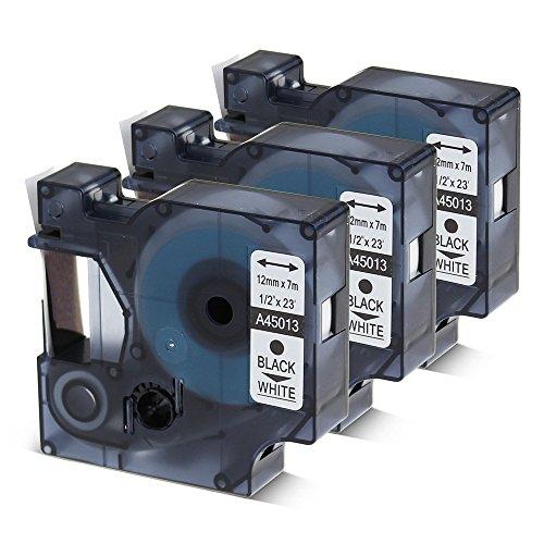 3 unidades de cinta adhesiva DYMO para etiquetas D1 de 1/2 pulgada para cartucho de recambio LabelManager 280 160 360D 420P 450D