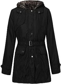PLENTOP 2020 Women's Hooded Parka Jacket Warm Winter Coat Faux Fur Overcoat Thick Long Outwear mit Belt