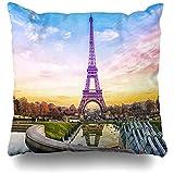 Asekngvo Cojines Fundas Europa Torre Eiffel Puesta de Sol París Francia Viajes románticos Eifel Tourist Decoración para el hogar Funda de almoha