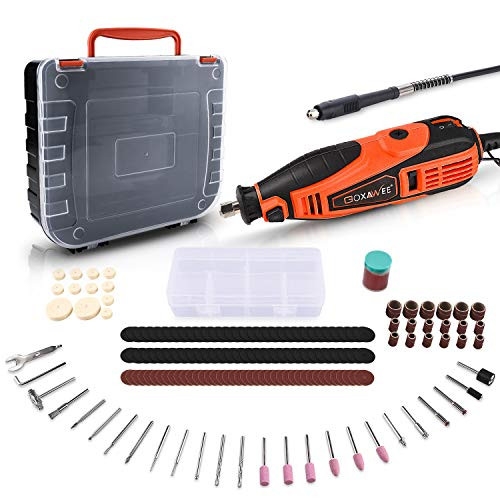 GOXAWEE Rotary Tool Kit with 181 Rotary Tool Accessories & Flex Shaft & Universal Collet, 5 Variable Speed Rotary Multi-Tool, Mini Electric Drill Set for Crafting DIY Project