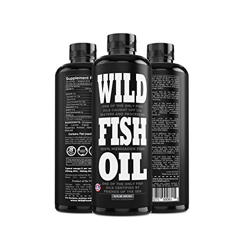 Wild Fish Oil, Omega-3 DPA, DHA, EPA FOS Certified, Super Strength 1,120mg Pure Omega-3, Batch Tested, Natural Lemon, BPA-Free, 94 Servings, U.S. Caught (16 oz Bottle)